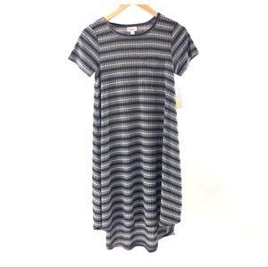 Lularoe Black Gray Striped Ribbed Carly Dress XXS